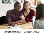 multiethnic couple considering... | Shutterstock . vector #790042969