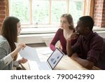 real estate agent offers... | Shutterstock . vector #790042990