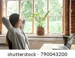 young woman feeling happy... | Shutterstock . vector #790043200