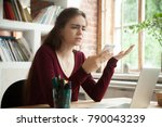 frustrated woman having problem ... | Shutterstock . vector #790043239
