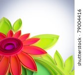 3D illustration of colorful flower in quilling techniques. - stock photo