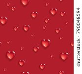 seamless pattern with 3d hearts.... | Shutterstock .eps vector #790048594