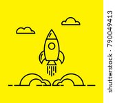 space rocket launch line icon.... | Shutterstock .eps vector #790049413