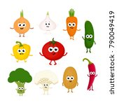 a set of different vegetables... | Shutterstock .eps vector #790049419