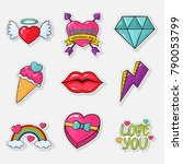 cute valentine's icons | Shutterstock .eps vector #790053799