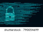 digital lock guard sign binary... | Shutterstock .eps vector #790054699