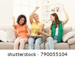 happy female friends in... | Shutterstock . vector #790055104