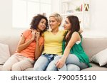 happy female friendsin... | Shutterstock . vector #790055110