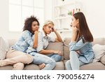 female friends chatting at home.... | Shutterstock . vector #790056274