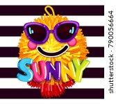 sunny smile sunglasses. summer... | Shutterstock .eps vector #790056664