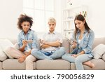 diverse female friends at home. ... | Shutterstock . vector #790056829