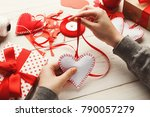 Stock photo valentines day diy wedding or other holiday decorations background handmade gift greeting heart 790057279