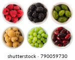 fruits and berries in bowl... | Shutterstock . vector #790059730