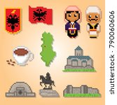 albania culture icon set. pixel ... | Shutterstock .eps vector #790060606