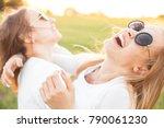 two best friends having fun... | Shutterstock . vector #790061230