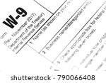 a macro closeup of a w9 federal ... | Shutterstock . vector #790066408