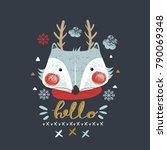 cute fox with deer horns.hand... | Shutterstock .eps vector #790069348