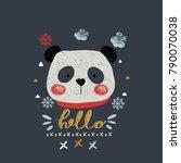 cute winter panda.hand drawn... | Shutterstock .eps vector #790070038