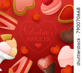 valentine s day background with ... | Shutterstock .eps vector #790070668