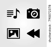 multimedia vector icons set.... | Shutterstock .eps vector #790072378
