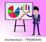 businessman and graphs on... | Shutterstock .eps vector #790080640