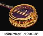 5 string banjos on black...   Shutterstock . vector #790083304