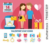 colored flat valentines day... | Shutterstock .eps vector #790087309