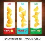 set of three salty snacks... | Shutterstock .eps vector #790087360