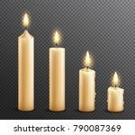 burning wax candles realistic... | Shutterstock .eps vector #790087369
