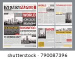 newspaper pages template design ... | Shutterstock .eps vector #790087396