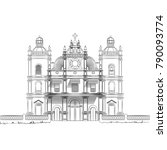 monochrome drawing of a church | Shutterstock .eps vector #790093774
