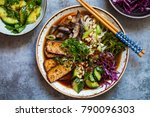 vegetarian ramen with smoked... | Shutterstock . vector #790096303