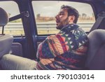 man passenger sleeping in the... | Shutterstock . vector #790103014