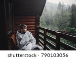 stylish man traveler in blanket ... | Shutterstock . vector #790103056