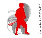 lacrosse sport silhouette... | Shutterstock .eps vector #790106410