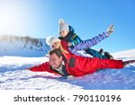 happy young family playing in... | Shutterstock . vector #790110196