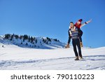 young couple having fun on snow....   Shutterstock . vector #790110223
