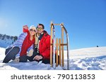 young couple sledding and... | Shutterstock . vector #790113853