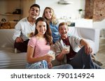 two happy couples with drinks... | Shutterstock . vector #790114924