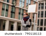 young protestor with placard... | Shutterstock . vector #790118113