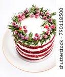naked red velvet cake decorated ... | Shutterstock . vector #790118500