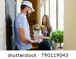 woman received flowers  ordered ... | Shutterstock . vector #790119043