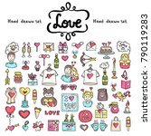 vector set with hand drawn... | Shutterstock .eps vector #790119283