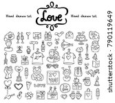 vector set with hand drawn... | Shutterstock .eps vector #790119649