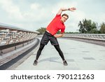 content young man doing side... | Shutterstock . vector #790121263