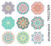 set of 9 hand drawn colorful... | Shutterstock .eps vector #790127809