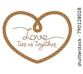 rope vector heart frame with... | Shutterstock .eps vector #790128028