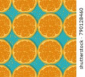 seamless pattern with oranges ... | Shutterstock . vector #790128460