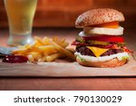 cheese burger with grilled... | Shutterstock . vector #790130029