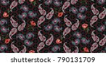 seamless floral pattern in... | Shutterstock .eps vector #790131709